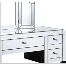 clear bevelled mirrored dressing table set table stool and