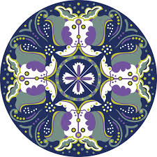 traditional lotus flower butterfly circle pattern