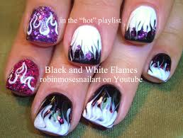 Light Purple Nail Designs Robin Moses Nail Art Black And White Flames Pink And Purple
