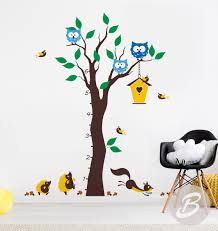 Owl Wall Sticker Growth Chart Colorful Tree Wall Decal Wall Decal With Animals