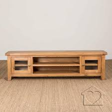 Oak Tv Cabinets With Glass Doors Heritage Rustic Oak Large Tv Unit With 2 Glass Doors 349 00 A