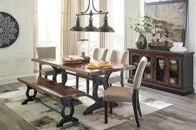 zurani brown and black rectangular dining room set