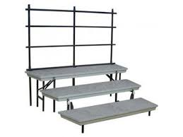 Choir Stands Benches Trans Port 3 Level Tapered Folding Riser With Guard Rail Tcr 7260r