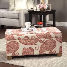 paisley pattern rectangular storage ottoman useful and
