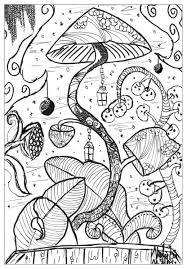 hard trippy coloring page mushroom coloring page all time