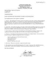 Certification Letter Of Attendance Sle Maryland Military Department Regulation 672 1 Awards And