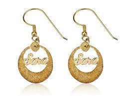 Personalized Name Earrings 14k Yellow Gold Hoop Earrings Rhlpjewelry