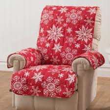Quilted Recliner Covers Snowflake Red Quilted Furniture Protectors