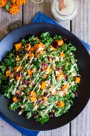fall quinoa salad with kale sweet potato maple tahini dressing