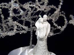 hand crafted spring wedding cake topper tree of life with white