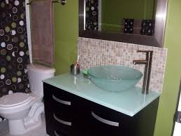 black and white glass tile bathroom backsplash and curve steel bat