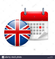 England Flag Round Calendar And Round British Flag Icon National Holiday In Great