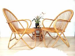 pair bamboo chairs franco albini style vintage mid century