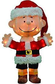 Christmas Outdoor Decorations Peanuts by Amazon Com Peanuts 3d 18 In Pre Lit Tinsel Linus With Blanket