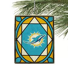 miami dolphins stained glass ornament nflshop