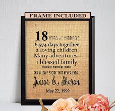 18th anniversary gift 18th wedding anniversary 18th anniversary gift