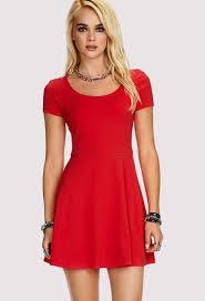 red skater dress with short sleeves naf dresses