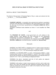 deed of mutual grant of perpetual right of way common law