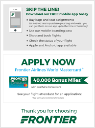frontier baggage fees boarding pass frontier airlines