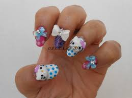 cute nails 3d hello kitty nail art