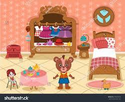 Bedroom Cartoon Cartoon Bear Her Bedroom Vector Stock Vector 474452428