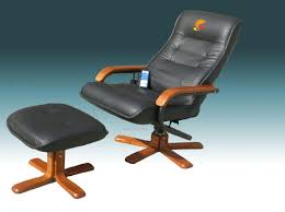 furniture wooden and leather office chair with ottoman footrest