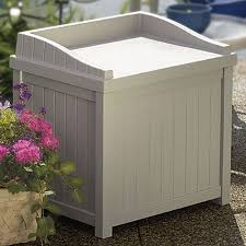 Outdoor Storage Bench Waterproof Suncast 22 Gallon Light Taupe Resin Small Storage Seat Deck Box