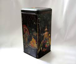antique tea tin asian tall black storage box oriental themed