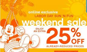 disney store labor day sale 25
