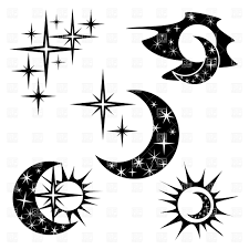 suns and half moon collection icons and emblems iink