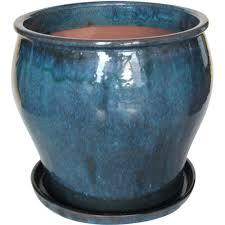 16 in ceramic solid dmg blue studio planter db10021 16j the
