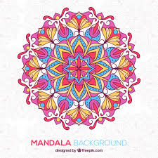 Hand Drawn Colored Mandala Background Vector Free Download