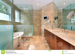 modern master bath with glass shower stock photo image 12662702