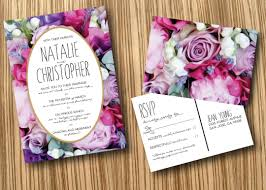 Wedding Invitations With Free Rsvp Cards Graphic Designer John Creates A Bold Fun Floral Watercolor
