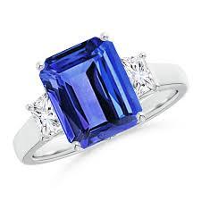 tanzanite stone rings images Three stone emerald cut tanzanite and diamond ring angara jpg