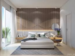 bedroom modern wooden platform bed with textural accent wall