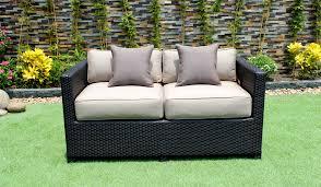 conversation set patio furniture paris outdoor patio wicker sunbrella conversation sofa set cieux