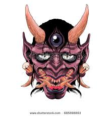 traditional female japanese demon tattoo design stock illustration