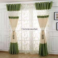 Green And Beige Curtains Style Floral Pattern Polyester Curtain For Living Room