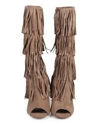 womens size 12 fringe boots qupid glee 168 suede layered fringe peep toe stiletto