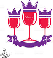sophisticated luxury wineglasses with king crown graphic art stock