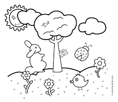 spring coloring pages rabbit for kids seasons coloring pages