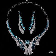 prom accessories blue rhinestones wedding jewelry prom party evening accessories