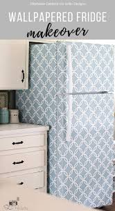 wallpapered fridge makeover u2022 grillo designs