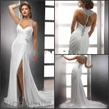 column wedding dresses 2017 new beading sheath wedding dresses side split spaghetti