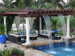 Living Luxuriously For Less by Luxurious Custom Pool With Trellis With Waterfall Features And A