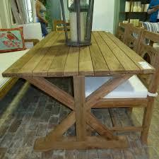 reclaimed teak dining room table furniture awesome reclaimed teak outdoor dining table with cross