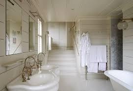large shabby chic bathroom with retro decor using bath curtains