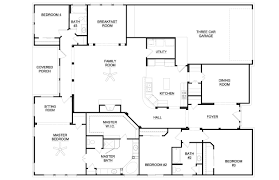 four bedroom house plans one story awesome story open concept