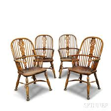 Windsor Armchairs Set Of Four English Elmwood Windsor Armchairs Sale Number 3009t